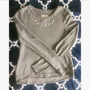 Embellished Gray Sweatshirt